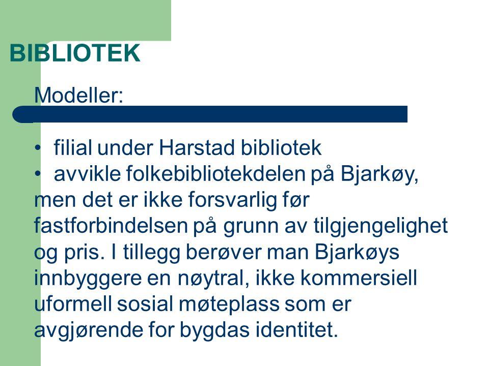 Bjarkøy bibliotek 60% kombinasjonsbibliotekar og kulturkontakt for kulturelle skolesektoren, i tillegg IKT ansvarlig.