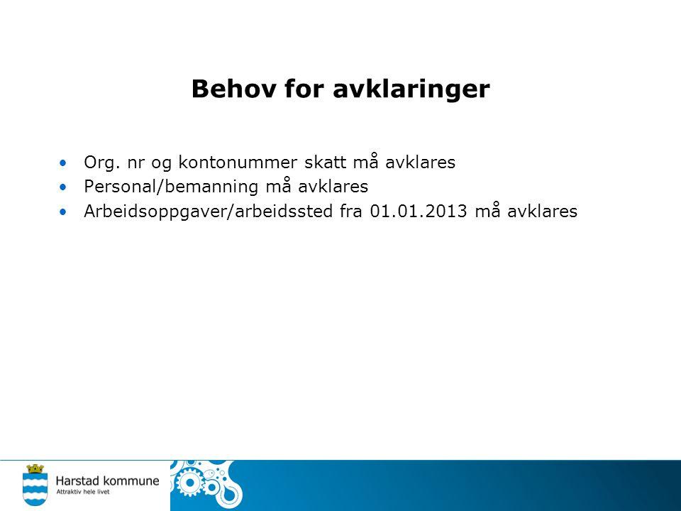 Behov for avklaringer Org. nr og kontonummer skatt må avklares Personal/bemanning må avklares Arbeidsoppgaver/arbeidssted fra 01.01.2013 må avklares