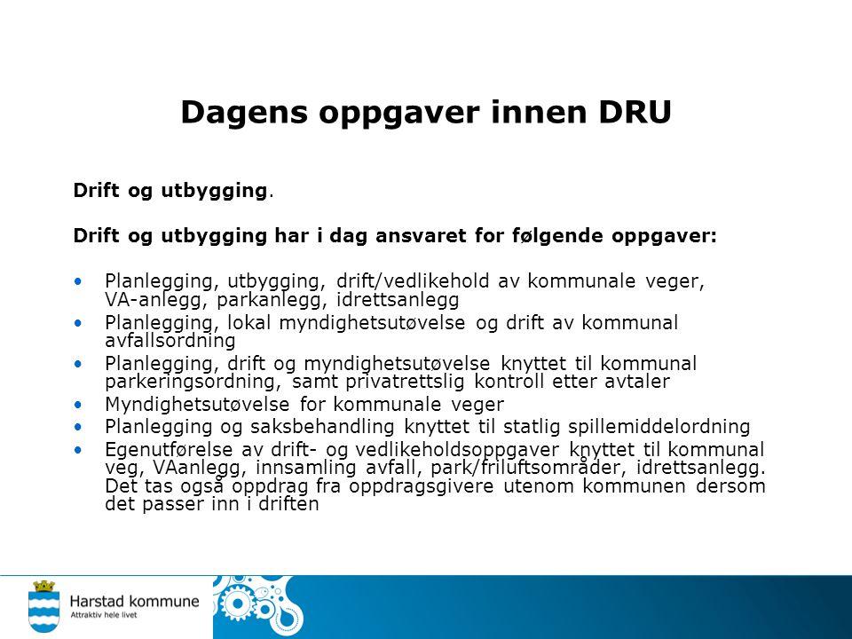 Dagens oppgaver innen DRU Drift og utbygging.