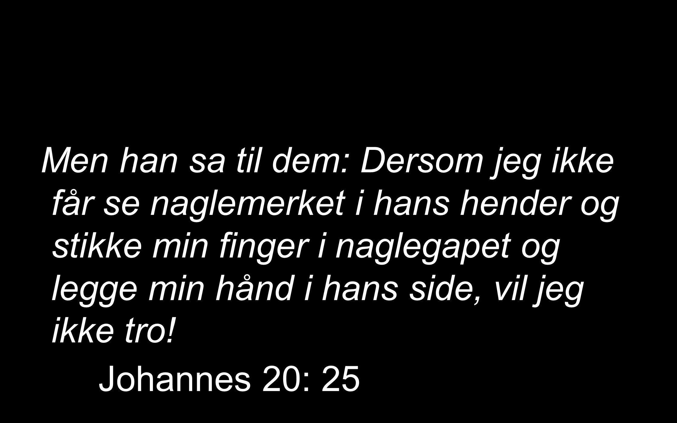 Men han sa til dem: Dersom jeg ikke får se naglemerket i hans hender og stikke min finger i naglegapet og legge min hånd i hans side, vil jeg ikke tro