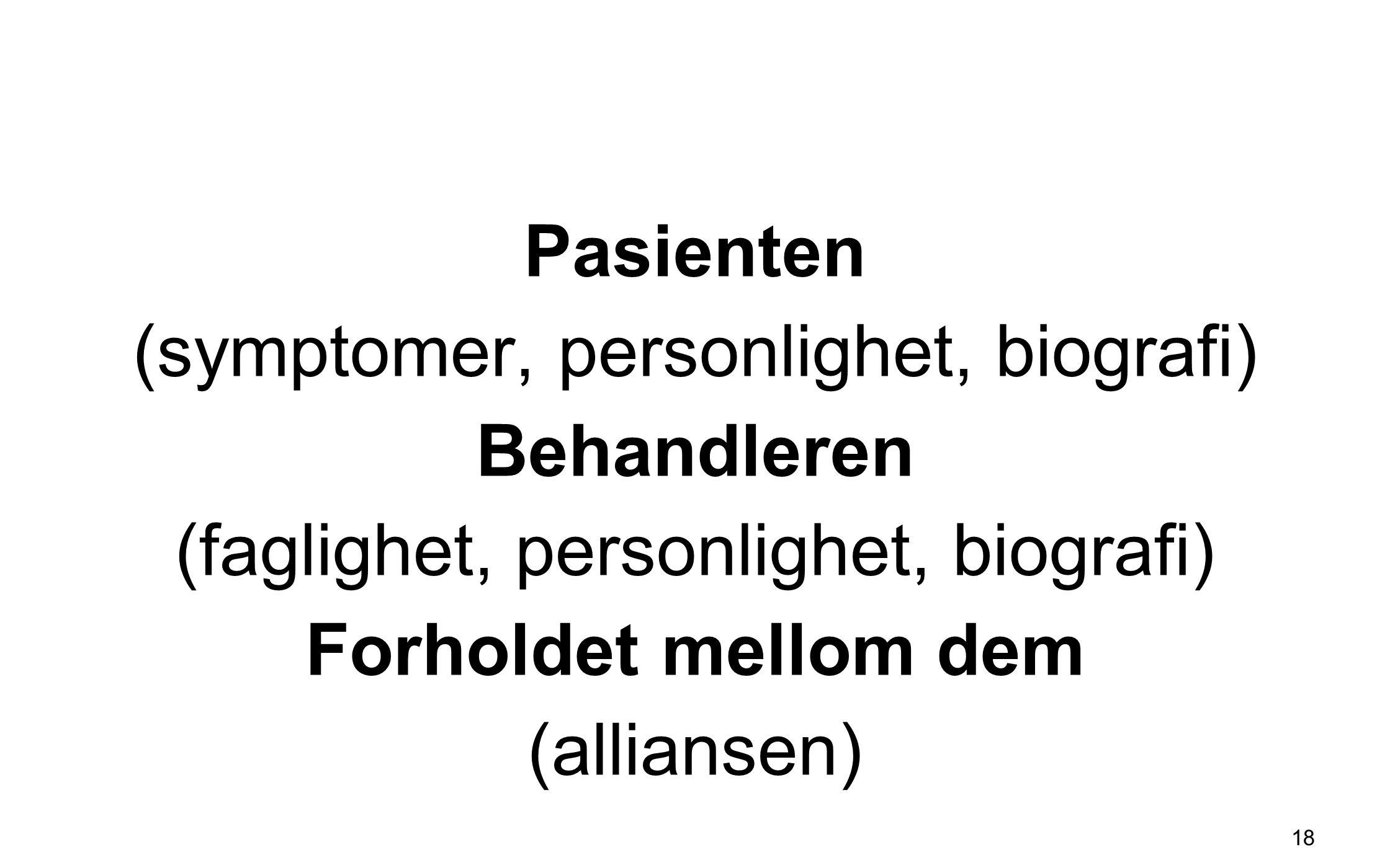 Pasienten (symptomer, personlighet, biografi) Behandleren (faglighet, personlighet, biografi) Forholdet mellom dem (alliansen) 18