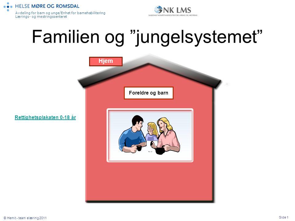 """Avdeling for barn og unge/Enhet for barnehabilitering Lærings- og mestringssenteret Side 1 © Hemit - team elæring 2011 Familien og """"jungelsystemet"""" Hj"""
