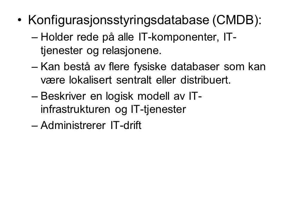 Konfigurasjonsstyringsdatabase (CMDB): –Holder rede på alle IT-komponenter, IT- tjenester og relasjonene. –Kan bestå av flere fysiske databaser som ka