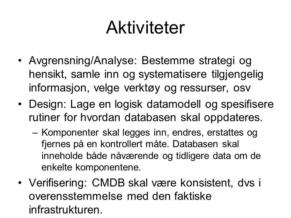 Aktiviteter Avgrensning/Analyse: Bestemme strategi og hensikt, samle inn og systematisere tilgjengelig informasjon, velge verktøy og ressurser, osv De