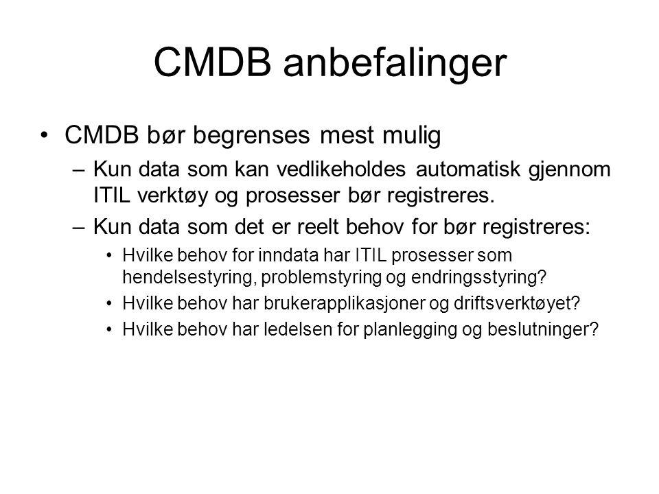 CMDB anbefalinger CMDB bør begrenses mest mulig –Kun data som kan vedlikeholdes automatisk gjennom ITIL verktøy og prosesser bør registreres. –Kun dat