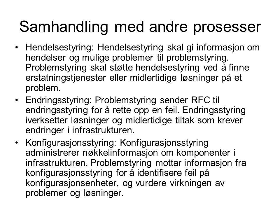 Samhandling med andre prosesser Hendelsestyring: Hendelsestyring skal gi informasjon om hendelser og mulige problemer til problemstyring. Problemstyri