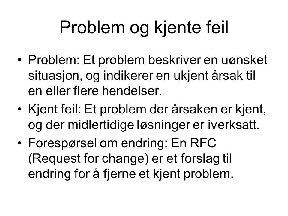 Problem og kjente feil Problem: Et problem beskriver en uønsket situasjon, og indikerer en ukjent årsak til en eller flere hendelser. Kjent feil: Et p