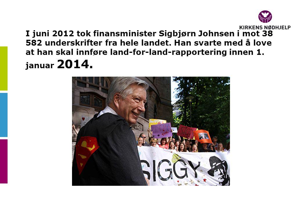 I juni 2012 tok finansminister Sigbjørn Johnsen i mot 38 582 underskrifter fra hele landet.