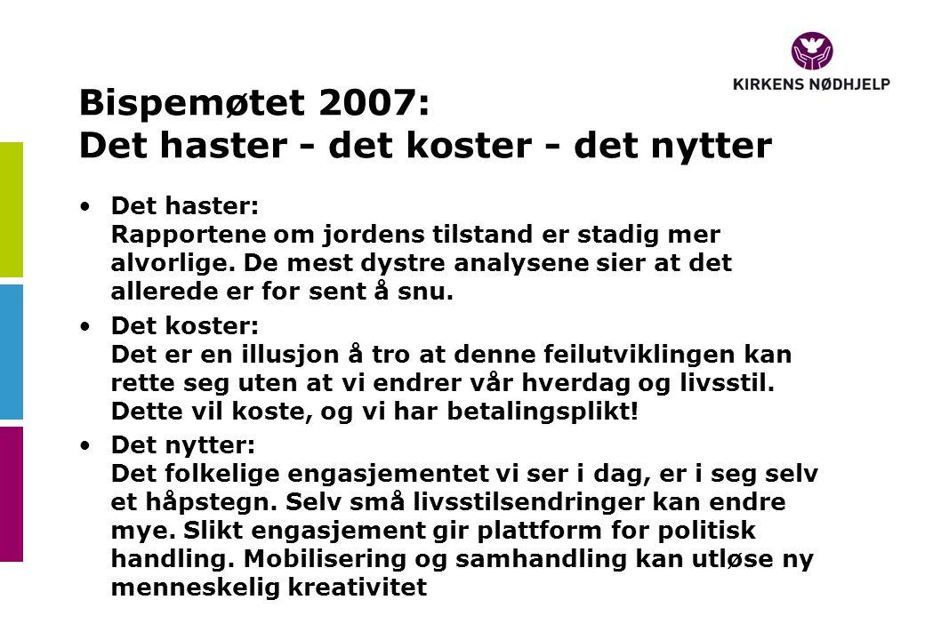 Bispemøtet 2007: Det haster - det koster - det nytter Det haster: Rapportene om jordens tilstand er stadig mer alvorlige.