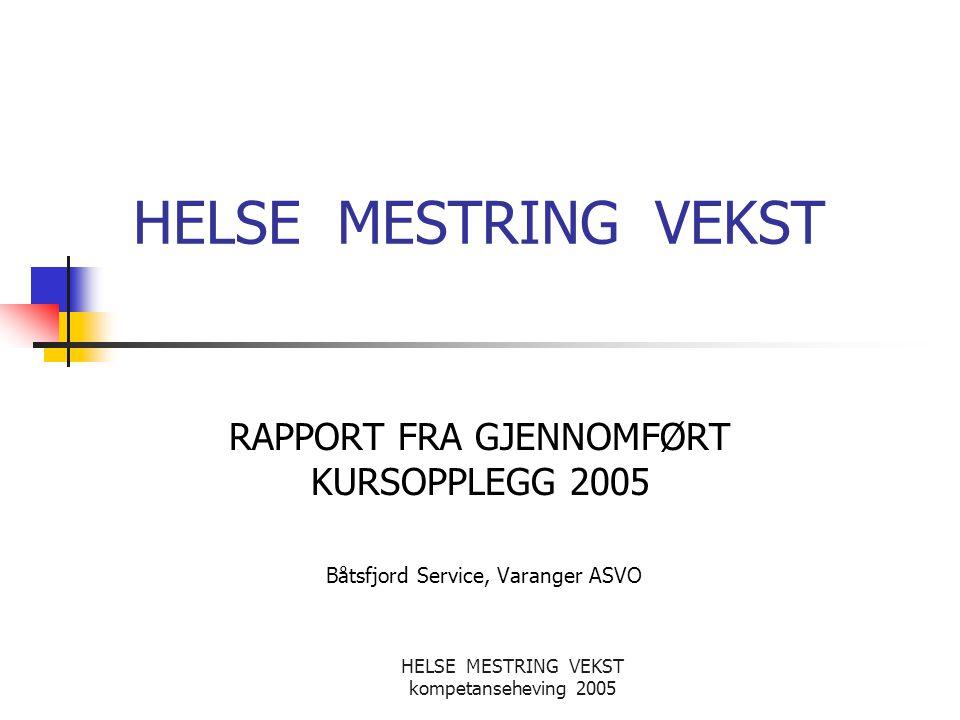 HELSE MESTRING VEKST kompetanseheving 2005 Innholdsbeskrivelse Utgangspunkt og målbeskrivelse Tema og gjennomføring Konklusjoner Økonomisk støtte til kompetanseheving Regnskapsavslutning