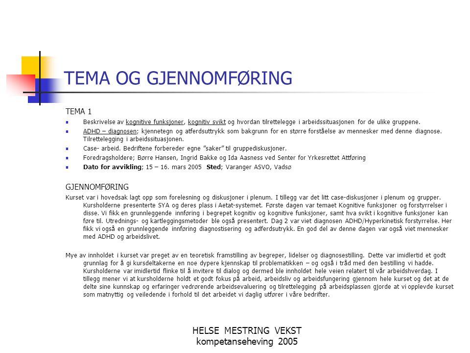 HELSE MESTRING VEKST kompetanseheving 2005 TEMA OG GJENNOMFØRING TEMA 2 Relasjons- og nettverksarbeid.