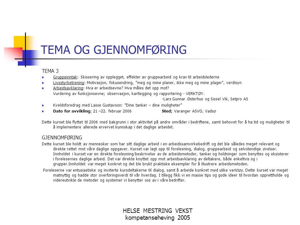 HELSE MESTRING VEKST kompetanseheving 2005 TEMA OG GJENNOMFØRING TEMA 3 Gruppeinntak: Skissering av opplegget, effekter av gruppearbeid og krav til ar