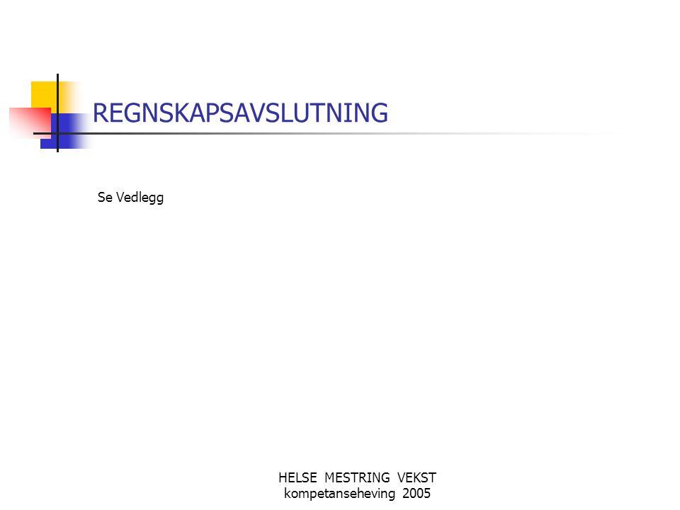 HELSE MESTRING VEKST kompetanseheving 2005 REGNSKAPSAVSLUTNING Se Vedlegg