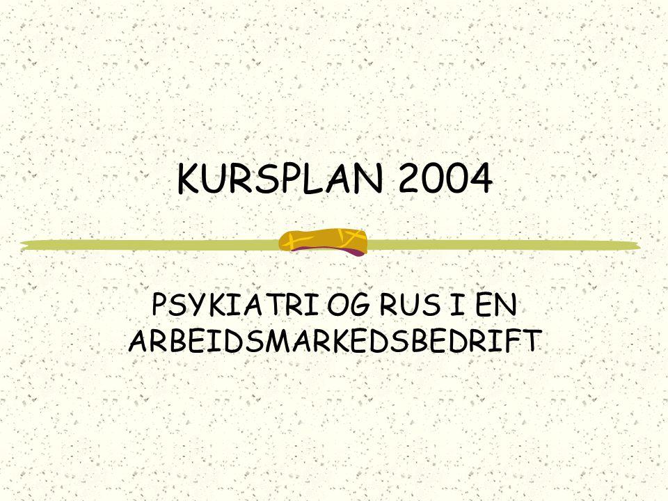 KURSPLAN 2004 PSYKIATRI OG RUS I EN ARBEIDSMARKEDSBEDRIFT
