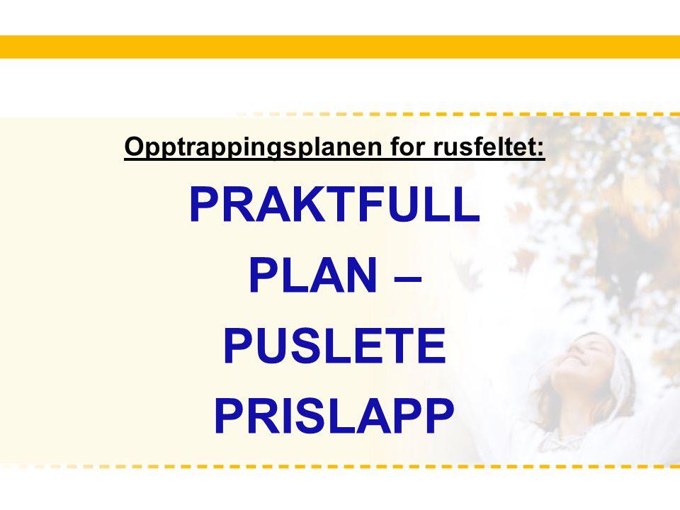 Opptrappingsplanen for rusfeltet: PRAKTFULL PLAN – PUSLETE PRISLAPP