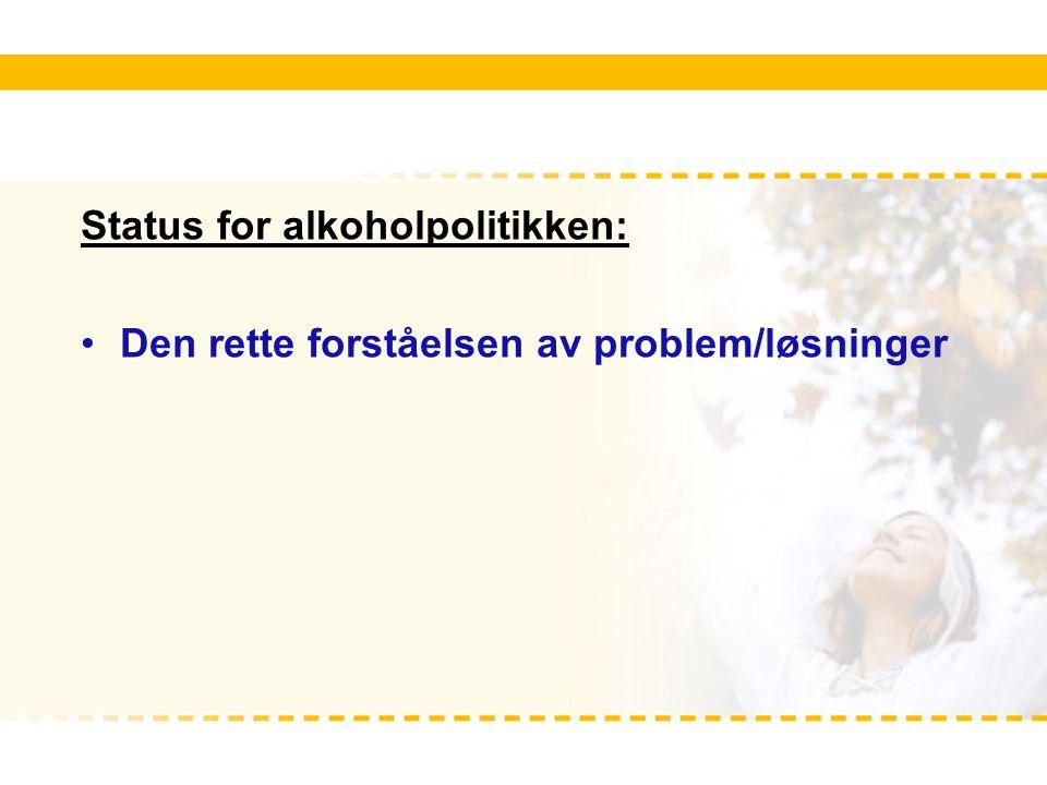 Status for alkoholpolitikken: Den rette forståelsen av problem/løsninger