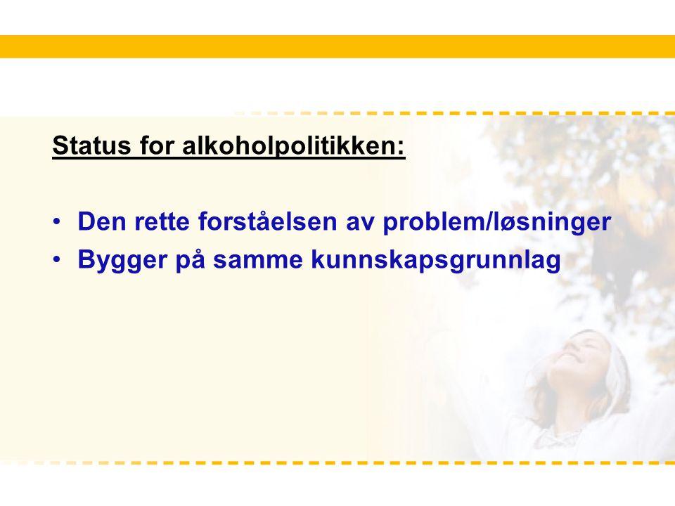 Status for alkoholpolitikken: Den rette forståelsen av problem/løsninger Bygger på samme kunnskapsgrunnlag