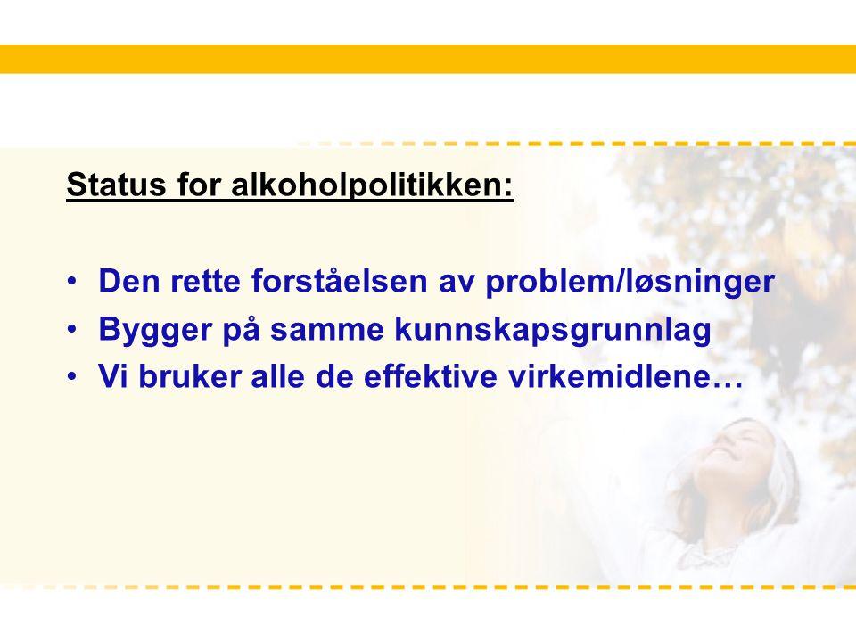 Status for alkoholpolitikken: Den rette forståelsen av problem/løsninger Bygger på samme kunnskapsgrunnlag Vi bruker alle de effektive virkemidlene…
