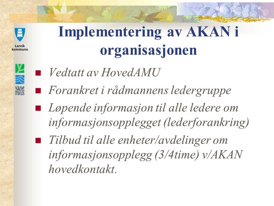 Implementering av AKAN i organisasjonen Vedtatt av HovedAMU Forankret i rådmannens ledergruppe Løpende informasjon til alle ledere om informasjonsopplegget (lederforankring) Tilbud til alle enheter/avdelinger om informasjonsopplegg (3/4time) v/AKAN hovedkontakt.