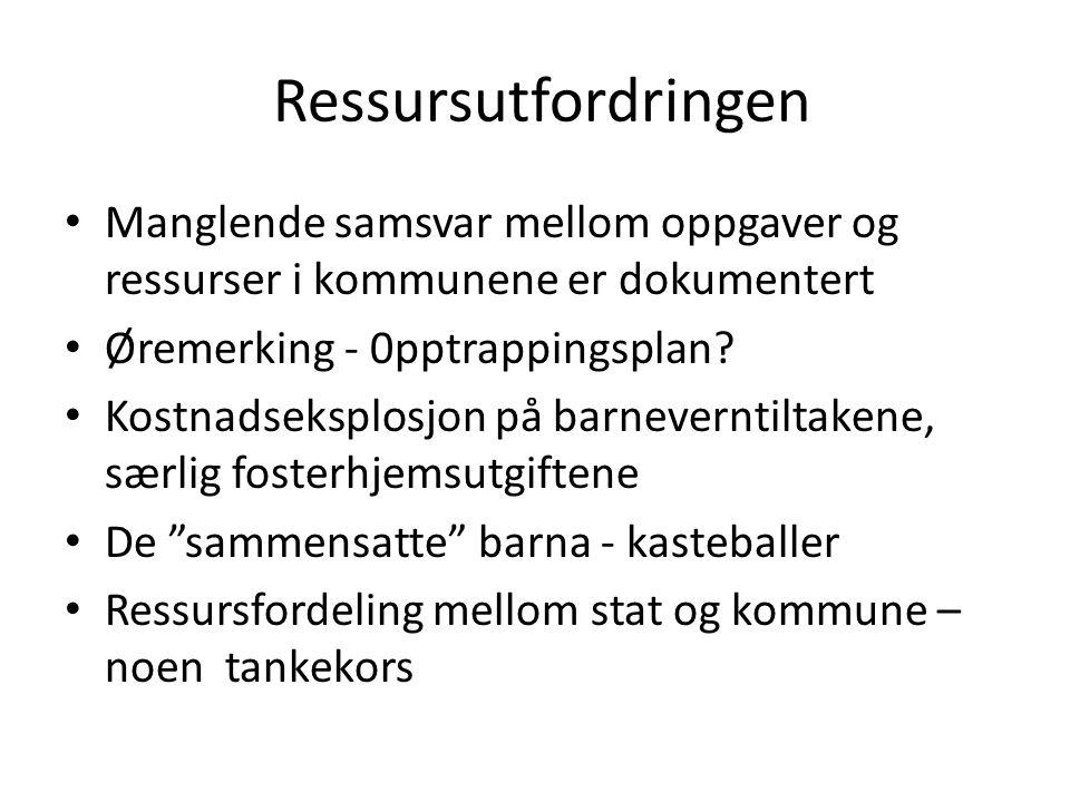 Ressursutfordringen Manglende samsvar mellom oppgaver og ressurser i kommunene er dokumentert Øremerking - 0pptrappingsplan? Kostnadseksplosjon på bar