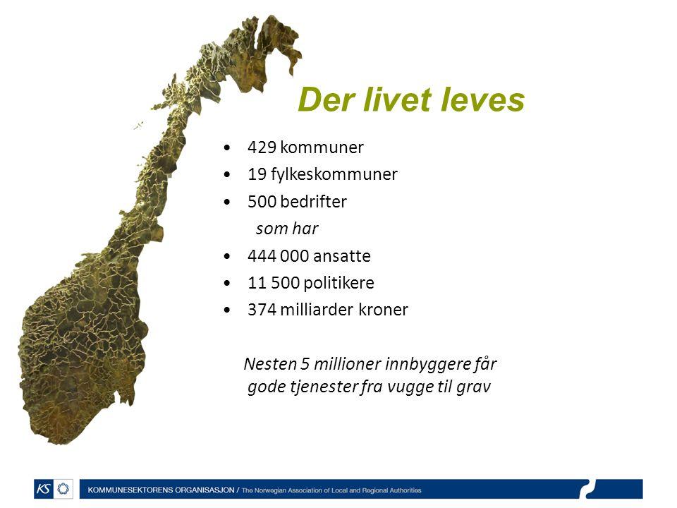429 kommuner 19 fylkeskommuner 500 bedrifter som har 444 000 ansatte 11 500 politikere 374 milliarder kroner Nesten 5 millioner innbyggere får gode tj