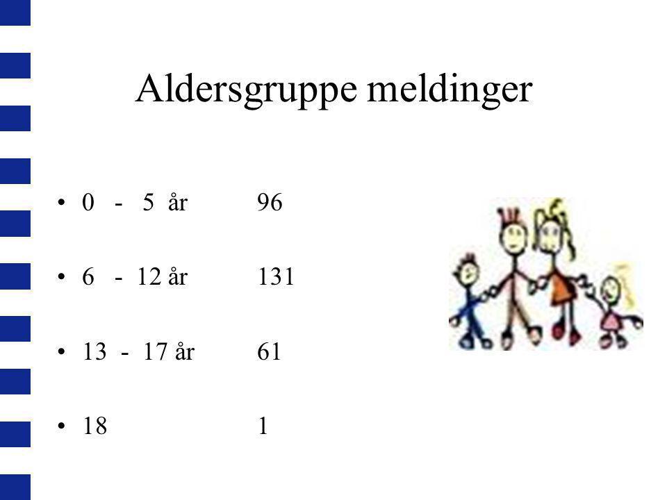 Aldersgruppe meldinger 0 - 5 år96 6 - 12 år131 13 - 17 år 61 181