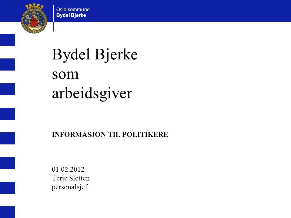 Oslo kommune Bydel Bjerke Bydel Bjerke som arbeidsgiver INFORMASJON TIL POLITIKERE 01.02.2012 Terje Sletten personalsjef