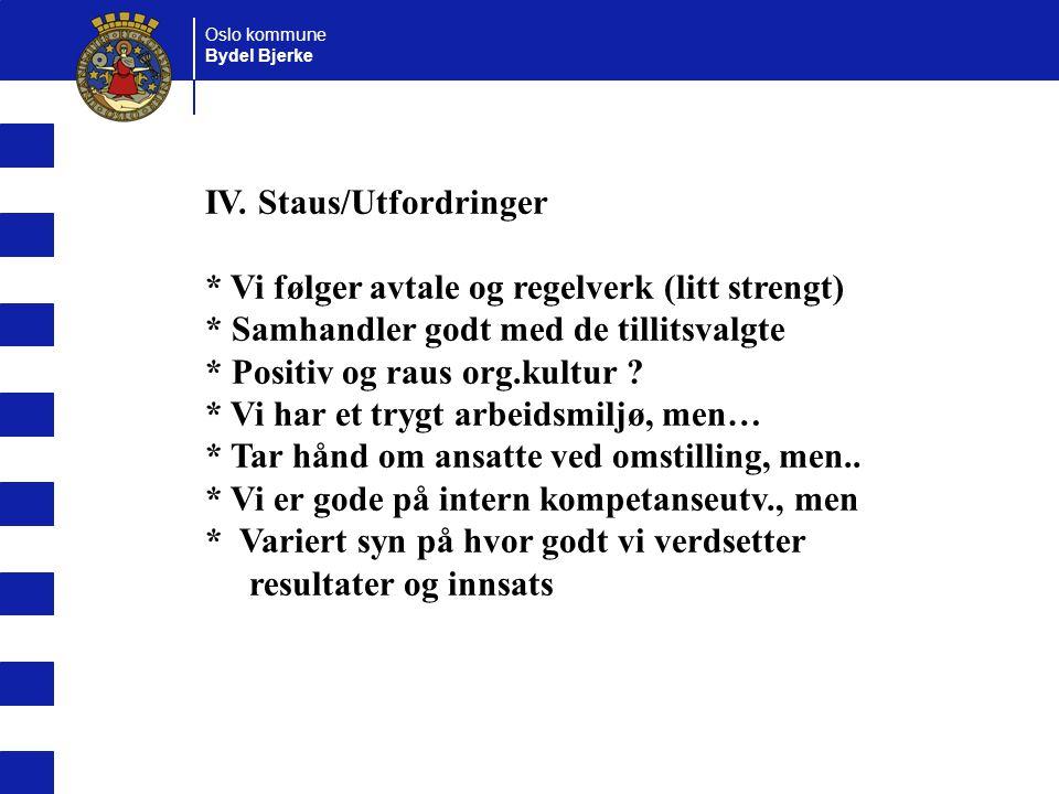 Oslo kommune Bydel Bjerke IV. Staus/Utfordringer * Vi følger avtale og regelverk (litt strengt) * Samhandler godt med de tillitsvalgte * Positiv og ra