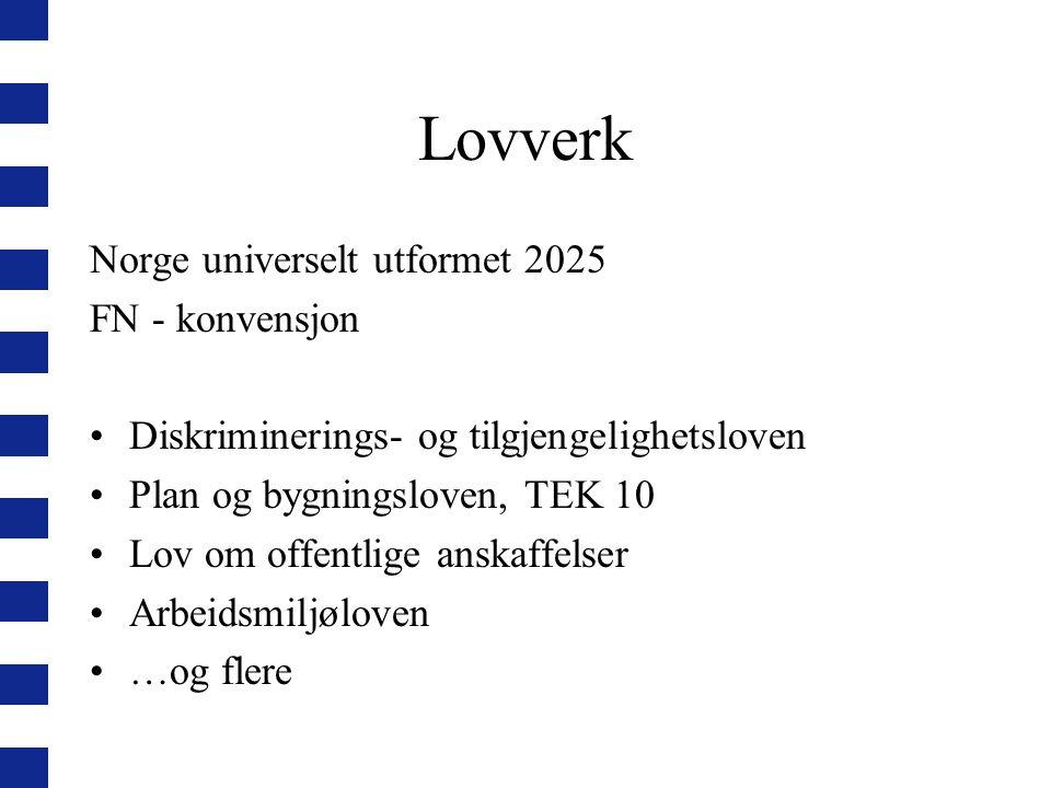 Lovverk Norge universelt utformet 2025 FN - konvensjon Diskriminerings- og tilgjengelighetsloven Plan og bygningsloven, TEK 10 Lov om offentlige anska