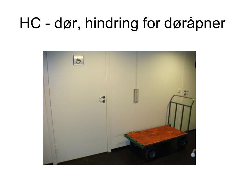 HC - dør, hindring for døråpner