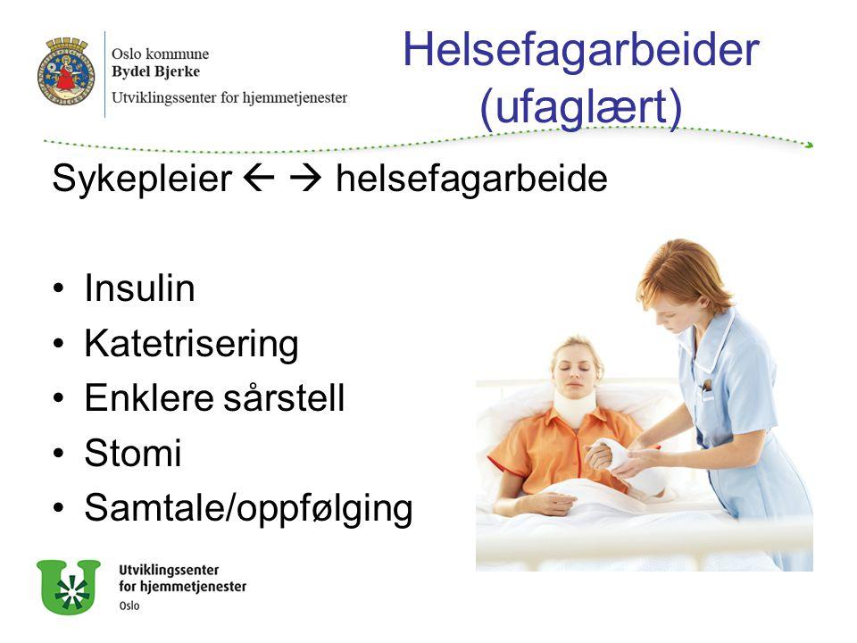 Helsefagarbeider (ufaglært) Sykepleier   helsefagarbeide Insulin Katetrisering Enklere sårstell Stomi Samtale/oppfølging