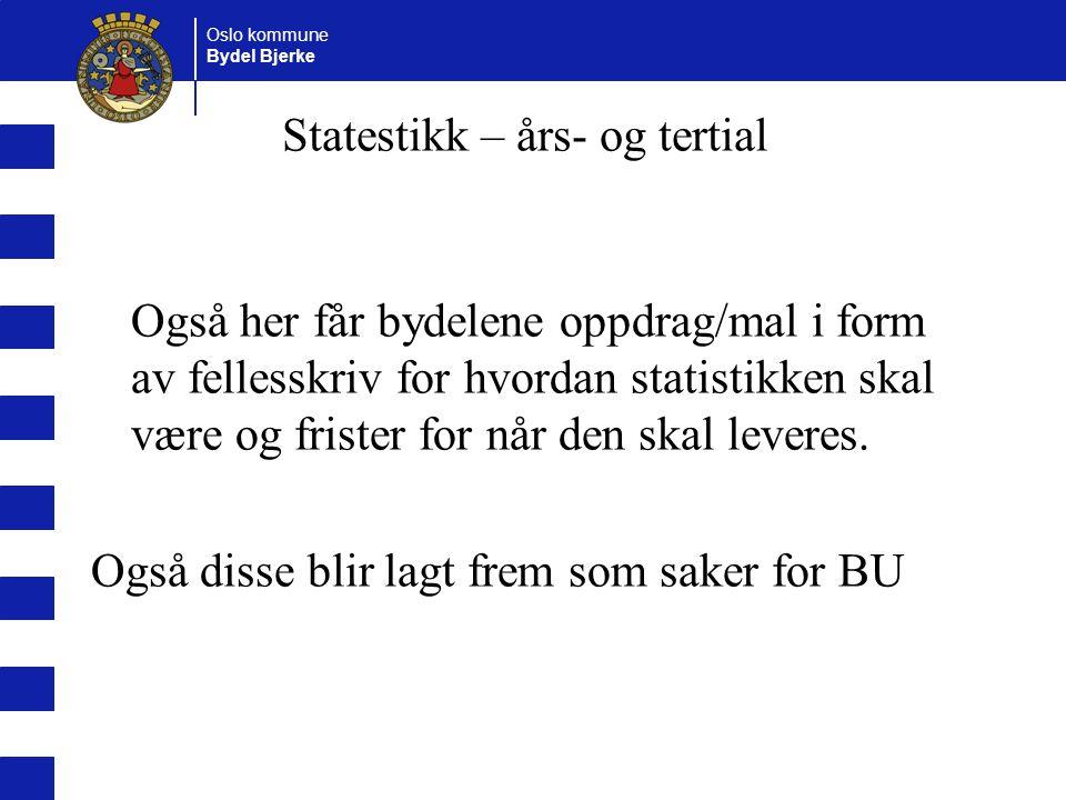 Oslo kommune Bydel Bjerke Også her får bydelene oppdrag/mal i form av fellesskriv for hvordan statistikken skal være og frister for når den skal lever