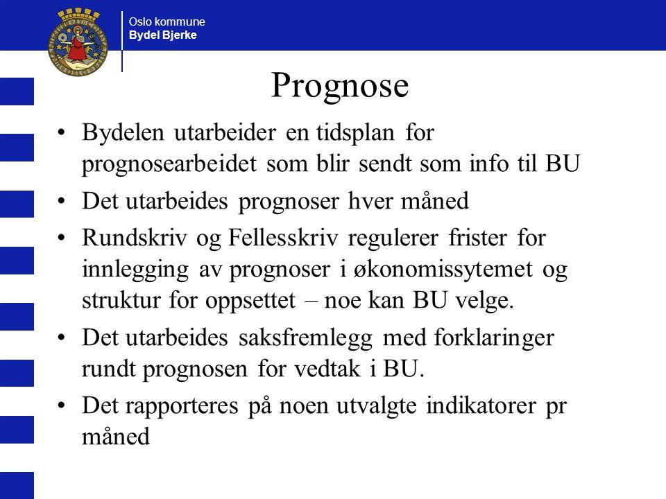 Oslo kommune Bydel Bjerke Prognose Bydelen utarbeider en tidsplan for prognosearbeidet som blir sendt som info til BU Det utarbeides prognoser hver må