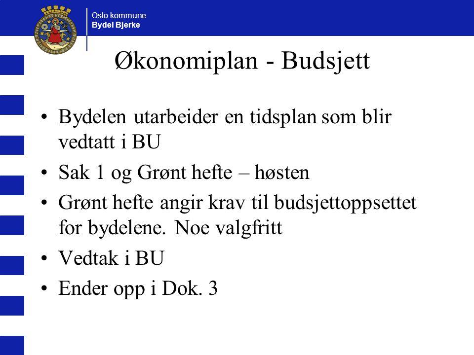Oslo kommune Bydel Bjerke Økonomiplan - Budsjett Bydelen utarbeider en tidsplan som blir vedtatt i BU Sak 1 og Grønt hefte – høsten Grønt hefte angir