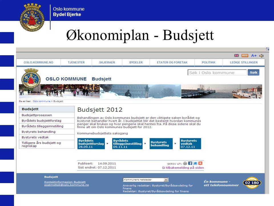 Oslo kommune Bydel Bjerke Økonomiplan - Budsjett
