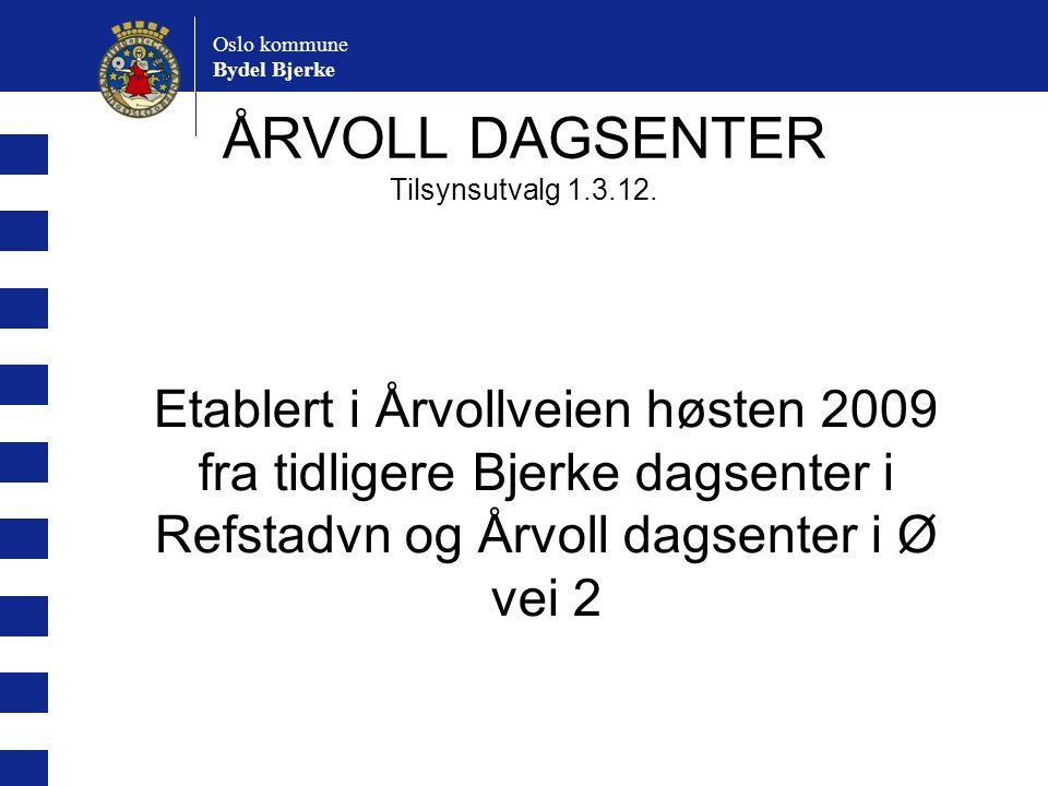 Oslo kommune Bydel Bjerke ÅRVOLL DAGSENTER Tilsynsutvalg 1.3.12. Etablert i Årvollveien høsten 2009 fra tidligere Bjerke dagsenter i Refstadvn og Årvo