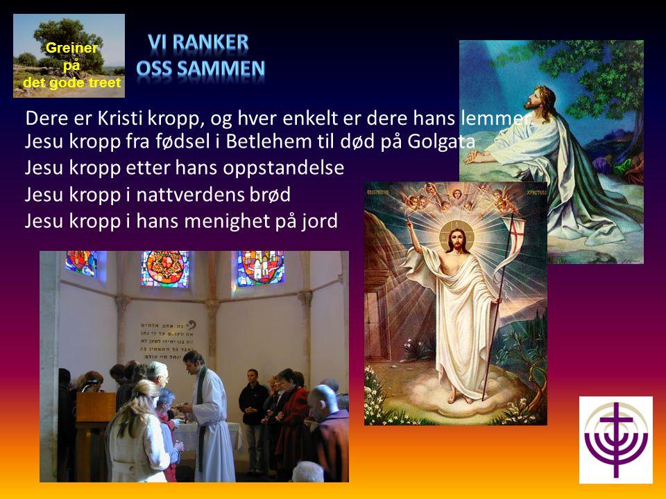 Greiner på det gode treet Jesu kropp fra fødsel i Betlehem til død på Golgata Jesu kropp etter hans oppstandelse Jesu kropp i nattverdens brød Jesu kr