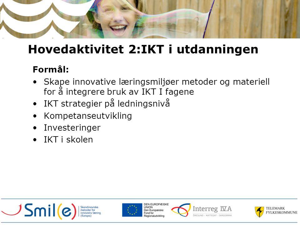 Hovedaktivitet 2:IKT i utdanningen Formål: Skape innovative læringsmiljøer metoder og materiell for å integrere bruk av IKT I fagene IKT strategier på ledningsnivå Kompetanseutvikling Investeringer IKT i skolen