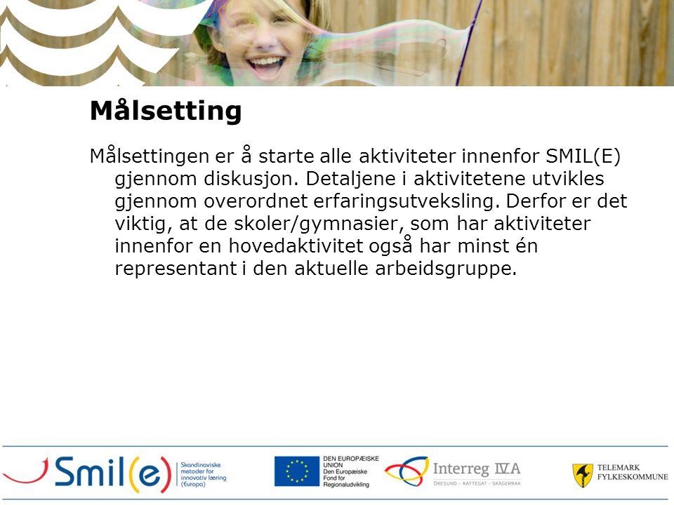 Målsetting Målsettingen er å starte alle aktiviteter innenfor SMIL(E) gjennom diskusjon.