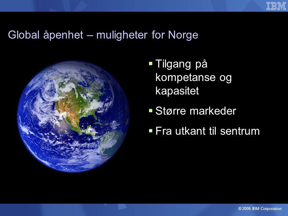 Global åpenhet – muligheter for Norge  Tilgang på kompetanse og kapasitet  Større markeder  Fra utkant til sentrum