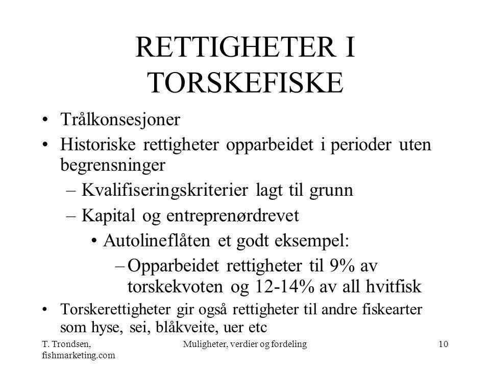 T. Trondsen, fishmarketing.com Muligheter, verdier og fordeling10 RETTIGHETER I TORSKEFISKE Trålkonsesjoner Historiske rettigheter opparbeidet i perio