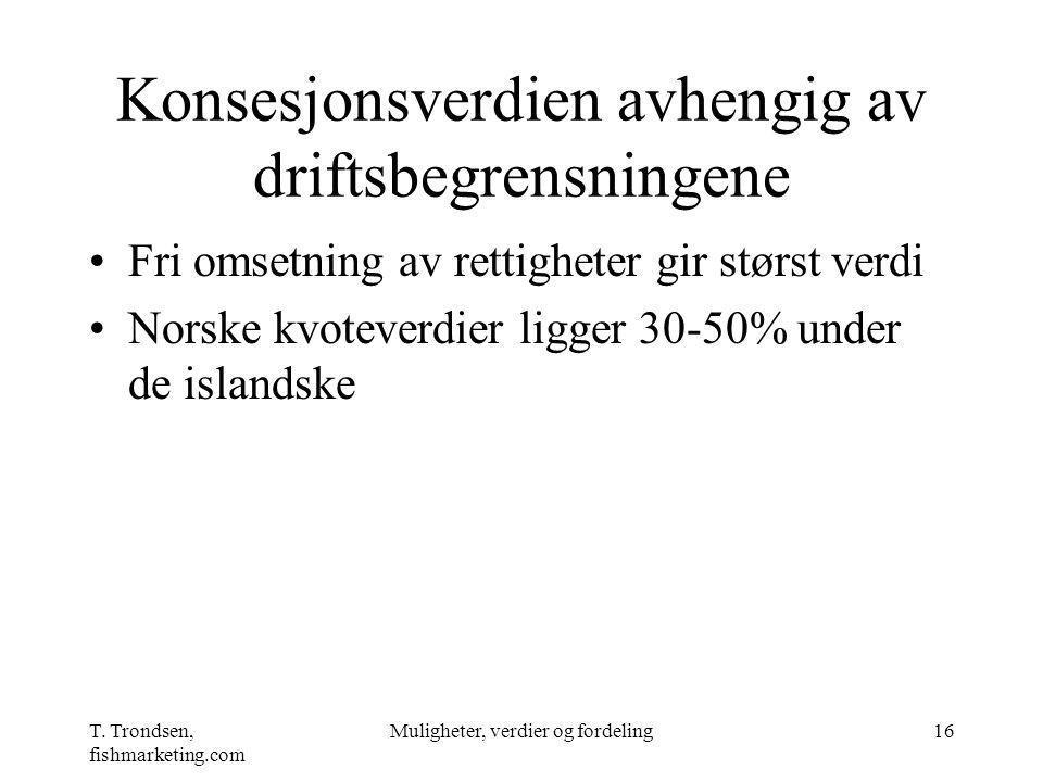 T. Trondsen, fishmarketing.com Muligheter, verdier og fordeling16 Konsesjonsverdien avhengig av driftsbegrensningene Fri omsetning av rettigheter gir