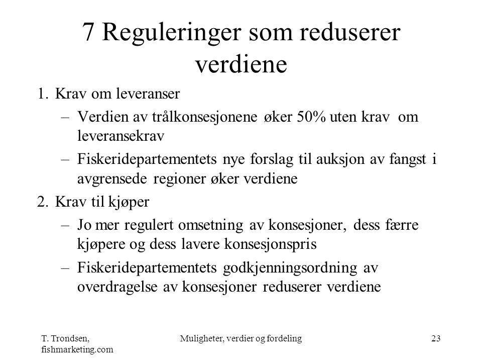 T. Trondsen, fishmarketing.com Muligheter, verdier og fordeling23 7 Reguleringer som reduserer verdiene 1.Krav om leveranser –Verdien av trålkonsesjon