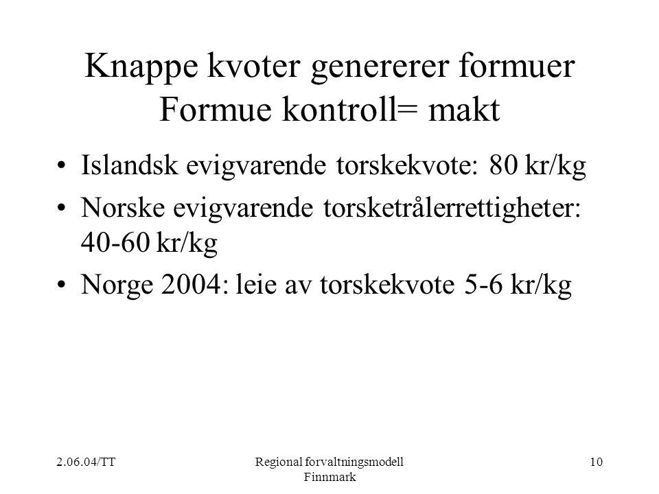 2.06.04/TTRegional forvaltningsmodell Finnmark 10 Knappe kvoter genererer formuer Formue kontroll= makt Islandsk evigvarende torskekvote: 80 kr/kg Nor