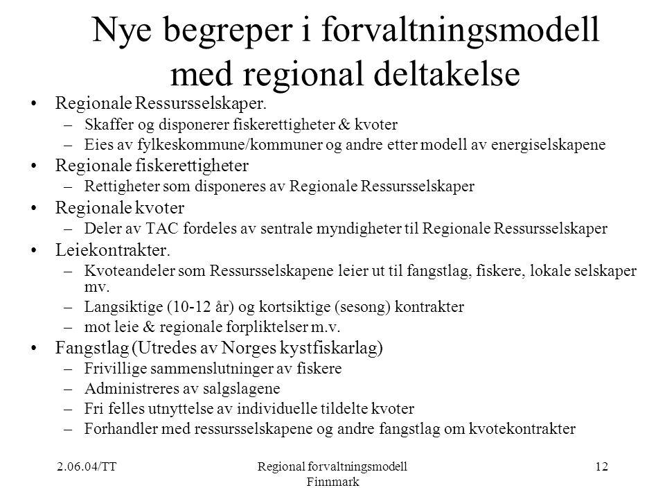 2.06.04/TTRegional forvaltningsmodell Finnmark 12 Nye begreper i forvaltningsmodell med regional deltakelse Regionale Ressursselskaper. –Skaffer og di