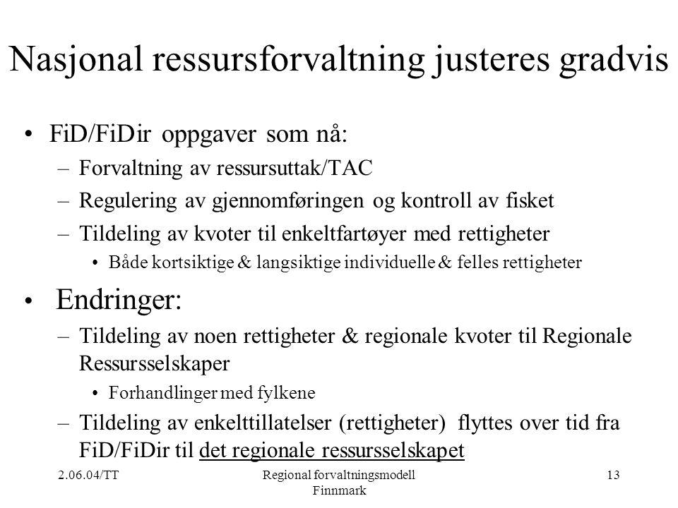2.06.04/TTRegional forvaltningsmodell Finnmark 13 Nasjonal ressursforvaltning justeres gradvis FiD/FiDir oppgaver som nå: –Forvaltning av ressursuttak