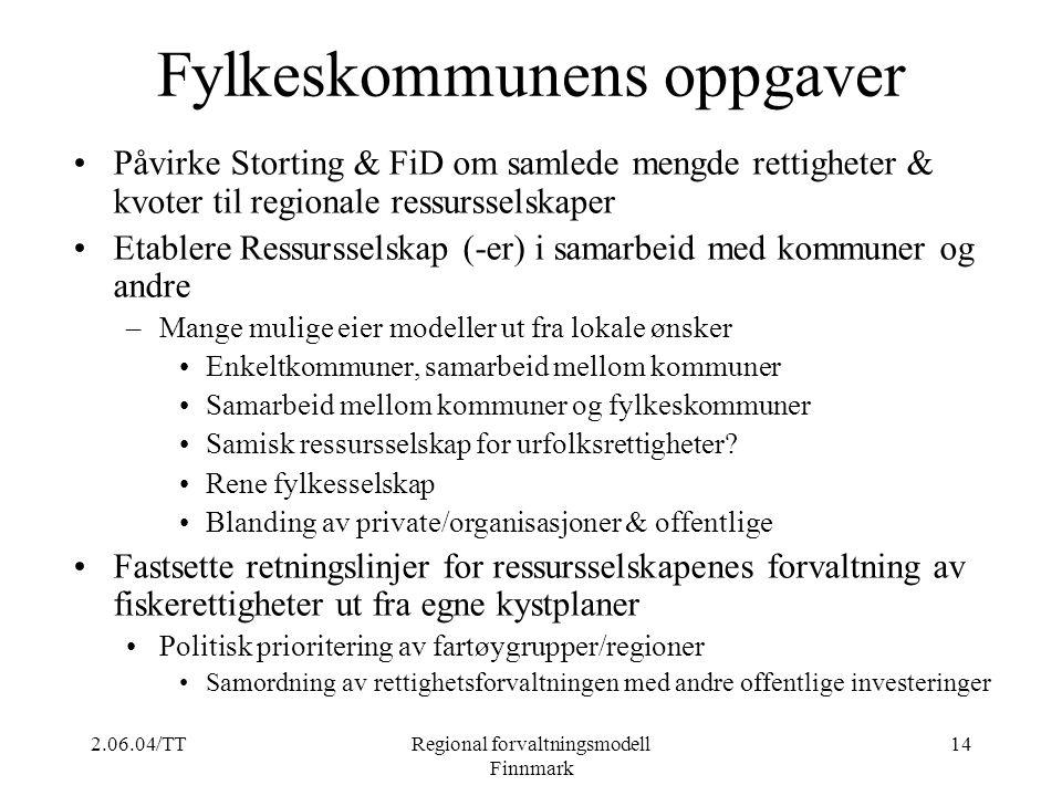 2.06.04/TTRegional forvaltningsmodell Finnmark 14 Fylkeskommunens oppgaver Påvirke Storting & FiD om samlede mengde rettigheter & kvoter til regionale