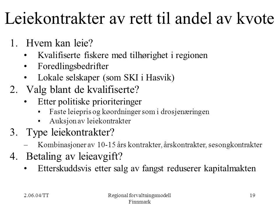 2.06.04/TTRegional forvaltningsmodell Finnmark 19 Leiekontrakter av rett til andel av kvote 1.Hvem kan leie? Kvalifiserte fiskere med tilhørighet i re
