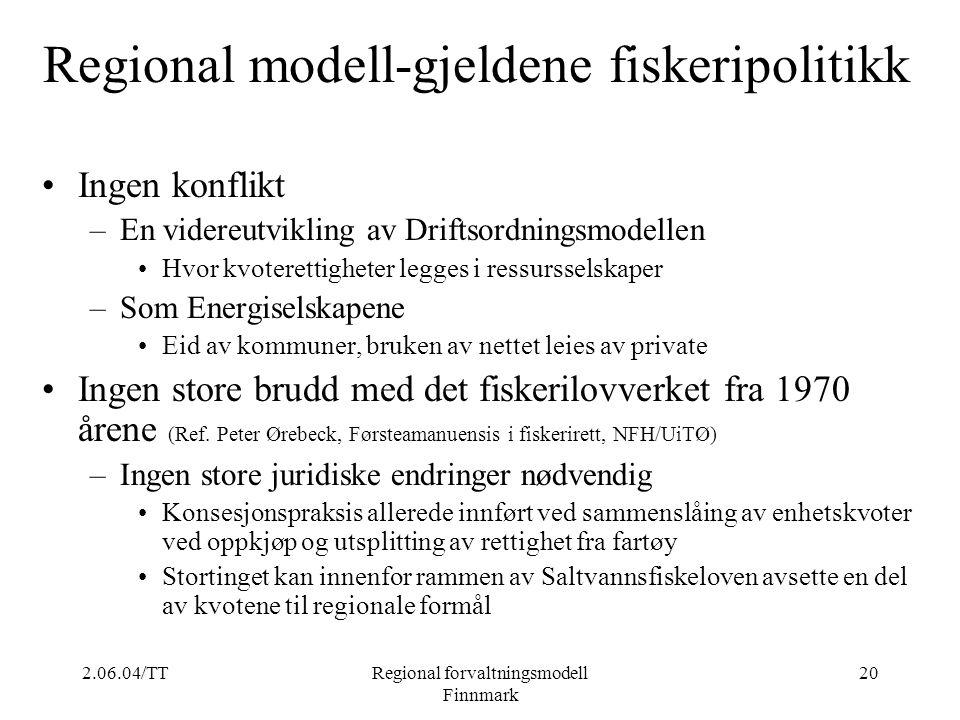 2.06.04/TTRegional forvaltningsmodell Finnmark 20 Regional modell-gjeldene fiskeripolitikk Ingen konflikt –En videreutvikling av Driftsordningsmodelle