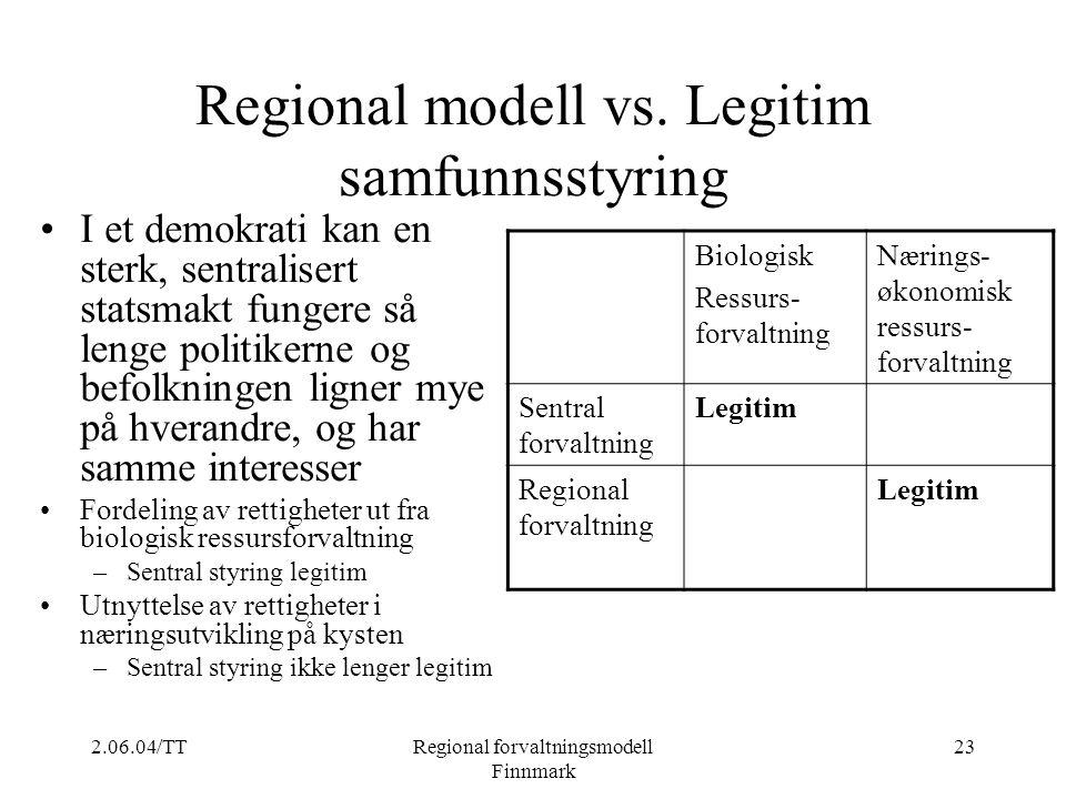 2.06.04/TTRegional forvaltningsmodell Finnmark 23 Regional modell vs. Legitim samfunnsstyring I et demokrati kan en sterk, sentralisert statsmakt fung